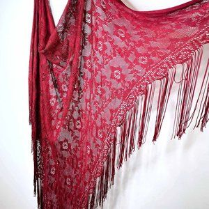 Susan Lazar boho gypsy red lace fringe wrap